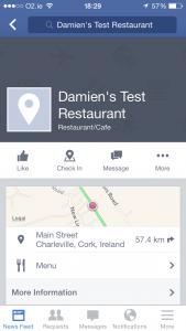Facebook Restaurant Menu Mobile