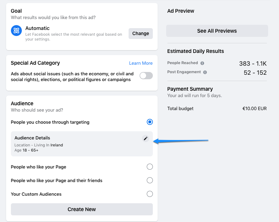 Edit Audience - Local Advertising with Facebook and Instagram