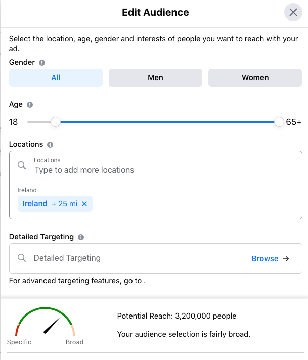 Change Location and Age -Local Advertising with Facebook and Instagram