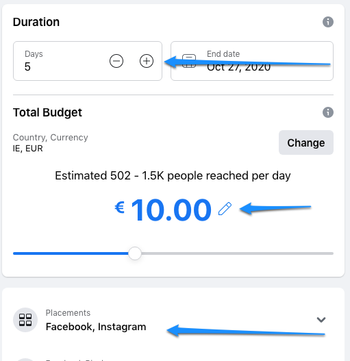 Choose your budget -Local Advertising with Facebook and Instagram