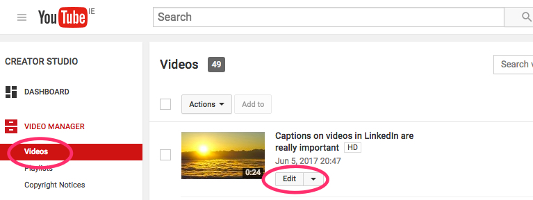 Edit Video - YouTube Video Captions 2